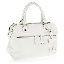 J by Jasper Conran - Designer white leather look double zip pocket handbag