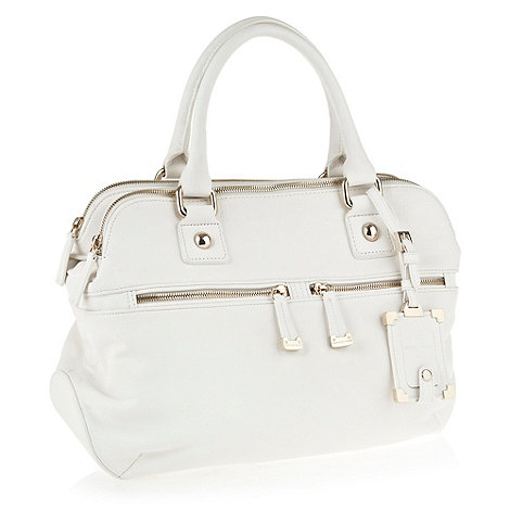 J by Jasper Conran - Designer white leather look double zip pocket handbag