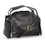 Designer black large leather double tassel shoulder bag