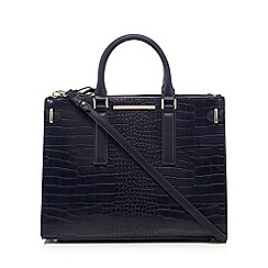 J by Jasper Conran - Navy snakeskin-effect three compartment grab bag