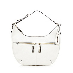 J by Jasper Conran - White grained double zip hobo bag