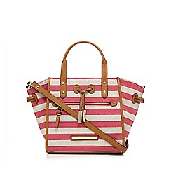 J by Jasper Conran - Dark pink canvas striped grab bag