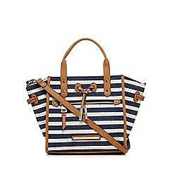 J by Jasper Conran - Navy canvas striped grab bag