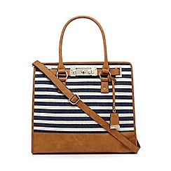 J by Jasper Conran - Navy and cream striped print canvas tote bag