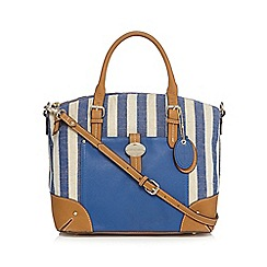 J by Jasper Conran - Blue striped canvas bowler bag