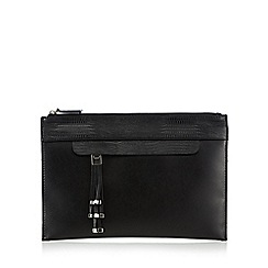 Principles by Ben de Lisi - Black snakeskin-effect trimmed clutch bag