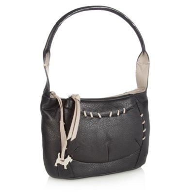 Black stab stitched shoulder bag