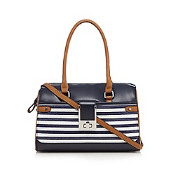 Principles by Ben de Lisi - Navy textured stripe bowler bag