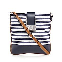 Principles by Ben de Lisi - Navy textured stripe cross body bag