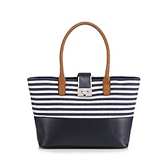 Principles by Ben de Lisi - Navy textured stripe tote bag
