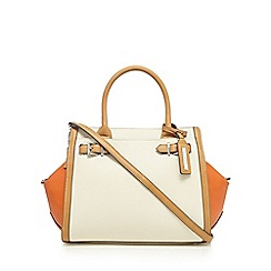 Principles by Ben de Lisi - Cream and orange buckle detail large winged tote bag