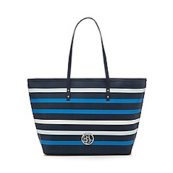 Principles by Ben de Lisi - Navy striped print shopper bag