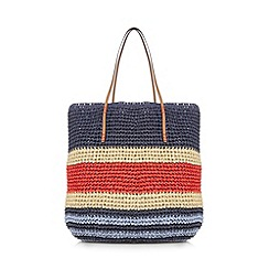Principles by Ben de Lisi - Navy striped straw shopper bag