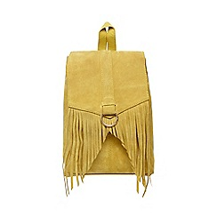 Butterfly by Matthew Williamson - Yellow suede fringed backpack