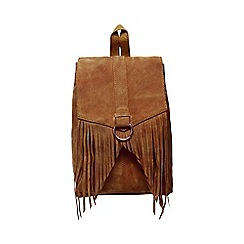 Butterfly by Matthew Williamson - Tan suede fringed backpack