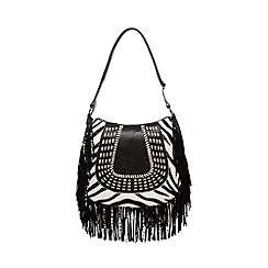 Butterfly by Matthew Williamson - Black zebra print saddle bag