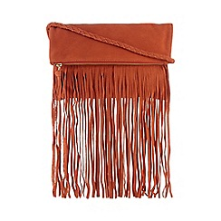 Butterfly by Matthew Williamson - Orange suede fringed body fold over shoulder bag