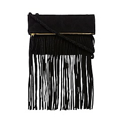 Butterfly by Matthew Williamson - Black suede fringed body fold over shoulder bag