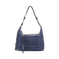 Butterfly by Matthew Williamson - Navy suede fringe fold over shoulder bag