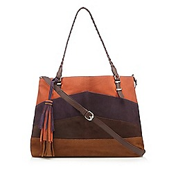 Butterfly by Matthew Williamson - Tan suede colour block shopper bag