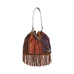 Butterfly by Matthew Williamson - Tan suede fringe hobo bag
