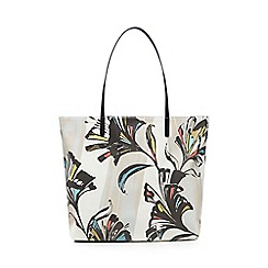 Betty Jackson.Black - Beige floral print shoulder bag