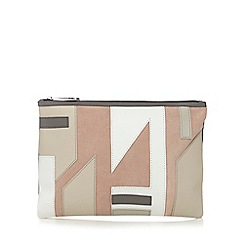 Betty Jackson.Black - Beige patchwork clutch bag