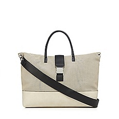 Betty Jackson.Black - Beige perforated weekend bag