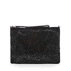 Nine by Savannah Miller - Black leather stone embellished clutch bag