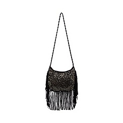 Nine by Savannah Miller - Black fringed cross body bag