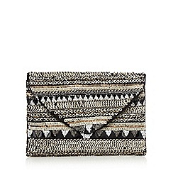 Nine by Savannah Miller - Black stone and sequin embellished clutch