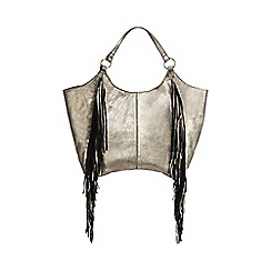 Nine by Savannah Miller - Gold leather fringed shoulder bag