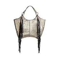 Nine by Savannah Miller - Gold leather fringed shoulder bag