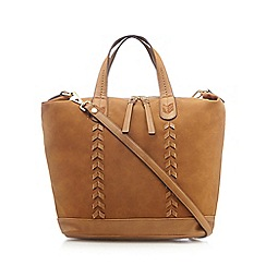 Nine by Savannah Miller - Tan chevron whipstitch tote bag
