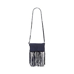 Nine by Savannah Miller - Navy suede fringed cross body bag
