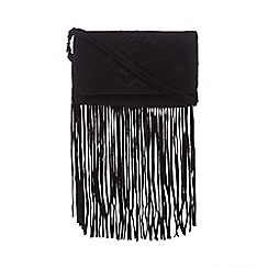 Nine by Savannah Miller - Black suede fringed cross body bag