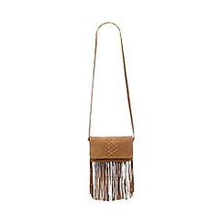 Nine by Savannah Miller - Tan suede fringed cross body bag