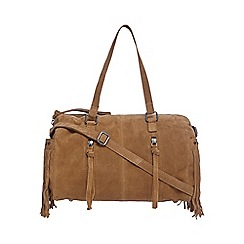 Nine by Savannah Miller - Tan suede bowler bag