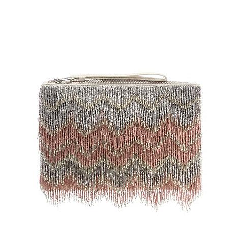 Nine by Savannah Miller - Pink beaded fringed clutch bag