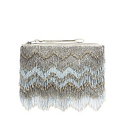 Nine by Savannah Miller - Light blue beaded fringed clutch bag