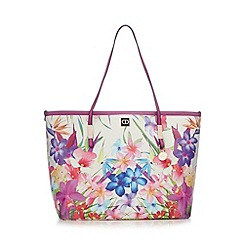 The Collection - Pink floral print shopper bag