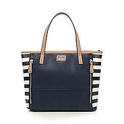 The Collection - Navy striped zip detail grab bag