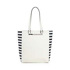 The Collection - White striped shopper bag