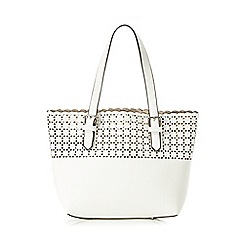 The Collection - White small cut-out shopper bag