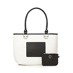 The Collection - Off white colour block purse detail tote bag