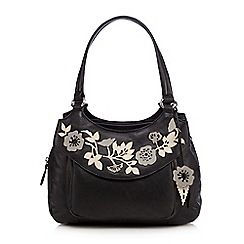 The Collection - Black leather floral applique grab bag