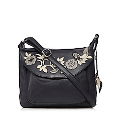 The Collection - Navy leather floral applique cross body bag