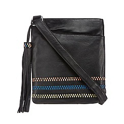 The Collection - Black leather embroidered cross body bag
