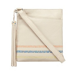 The Collection - Beige leather embroidered cross body bag