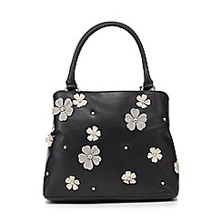 The Collection - Black applique flower grab bag
